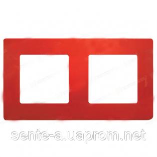 Рамка 2 поста красный 672532 Legrand Etika