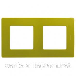 Рамка 2 поста зеленый папоротник 672542 Legrand Etika