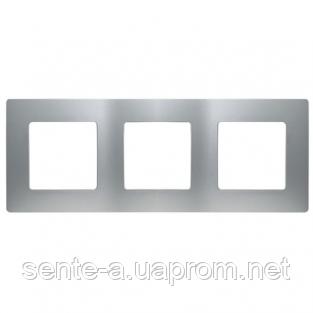 Рамка 3 поста алюминий 672553 Legrand Etika