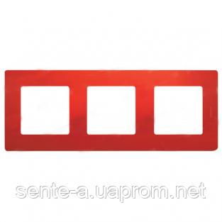 Рамка 3 поста красный 672533 Legrand Etika