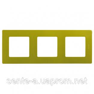 Рамка 3 поста зеленый папоротник 672543 Legrand Etika