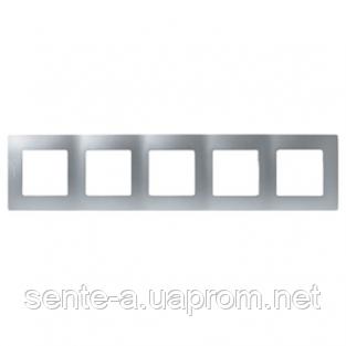 Рамка 5 постов алюминий 672555 Legrand Etika