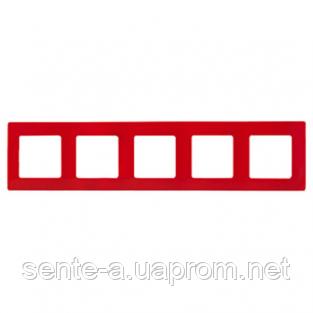 Рамка 5 постов красный 672535 Legrand Etika