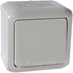 Проходной выключатель 1-клавишный IP44 серый 782383 Legrand Forix (Quteo)