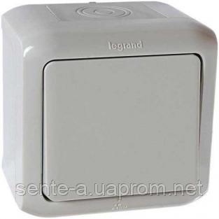 Выключатель кнопочный 1-клавишный IP44 серый 782384 Legrand Forix (Quteo)