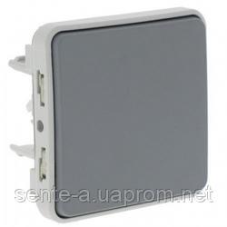 Проходной выключатель 1-клавишный IP55 IK07 серый 69511 Legrand Plexo