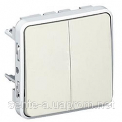 Проходной выключатель 2-клавишный IP55 IK07 белый 69625 Legrand Plexo