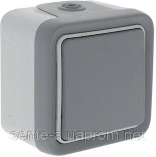Проходной выключатель 1-клавишный в сборе IP55 IK07 серый 69711 Legrand Plexo