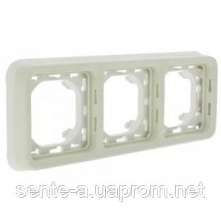 Суппорт с рамкой для встроенного монтажа горизонтальный белый 69698 IP65 IK07 Legrand Plexo