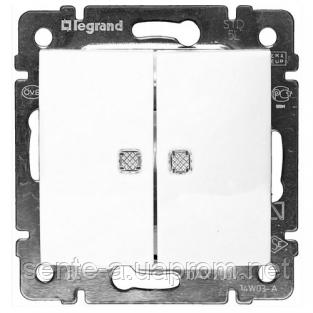 Механизм проходного 2-клавишного переключателя с подсветкой белый 774212 Legrand Valena