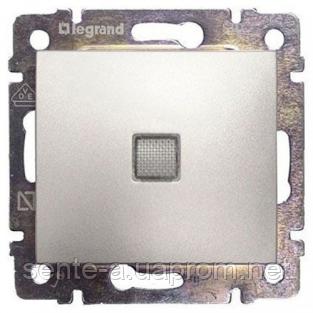 Механизм проходного 1-клавишного переключателя с подсветкой алюминий 770126 Legrand Valena