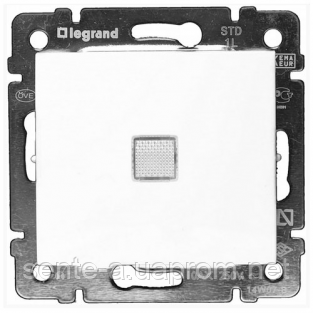 Механизм проходного 1-клавишного переключателя с подсветкой белый 774426 Legrand Valena