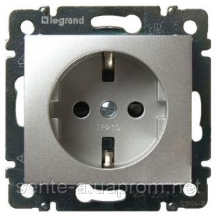 Механизм розетки (2К+3) 16А немецкий стандарт алюминий 770120 Legrand Valena