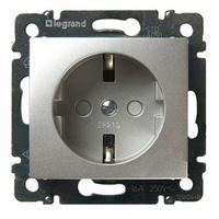 Механизм розетки (2К+3) 16А немецкий стандарт со шторками алюминий 770121 Legrand Valena