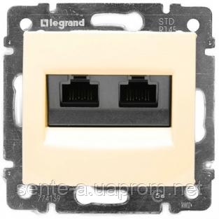 Механизм розетки телефонная RJ11+компьютерная RJ45 слоновая кость 774180 Legrand Valena