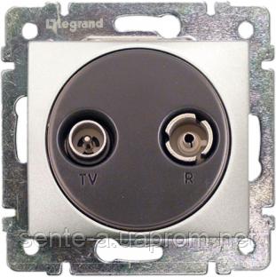 Механизм розетки TV+R проходной 862МГц 14dB алюминий 770134 Legrand Valena