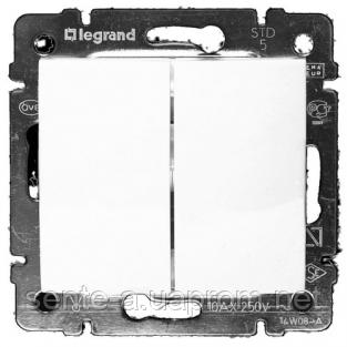 Механизм проходного 2-клавишного переключателя белый 774408 Legrand Valena