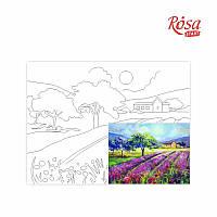 Полотно на картоні з контуром, Пейзаж №19, 30*40, бавовна, акрил, ROSA START