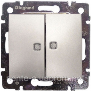 Механизм выключателя 2-клавишного с подсветкой алюминий 770128 Legrand Valena