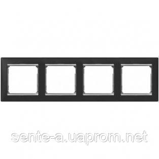 Рамка 4 поста ноктюрн/серебряный штрих Legrand Valena 770394