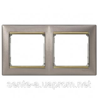 Рамка 2 поста титан/золотой штрих Legrand Valena 770362
