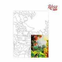 Полотно на картоні з контуром, Пейзаж №21, 30*40, бавовна, акрил, ROSA START
