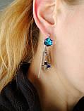 Серебряные серьги с кристаллом Сваровски , фото 6