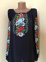Вишита блуза з квітковим орнаментом машинна вишивка, фото 1