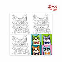 Полотно на картоні з контуром, «Pop Art Cat», 30*30, бавовна, акрил, ROSA START