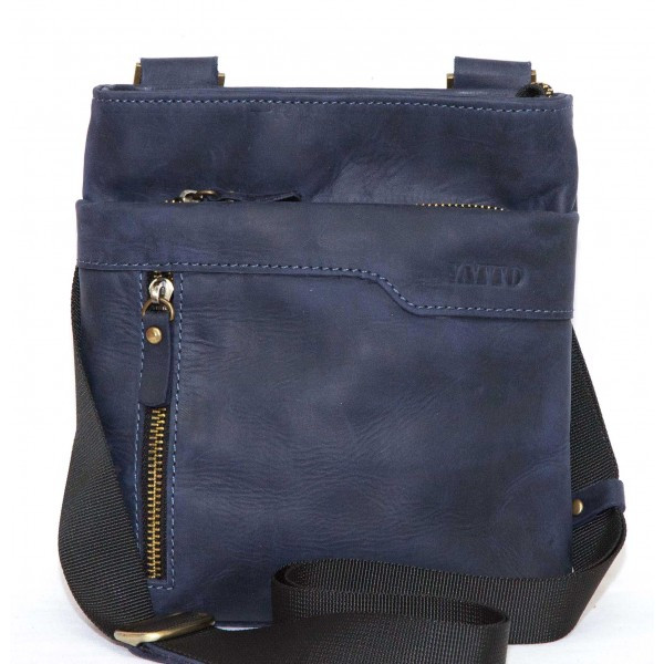 Синяя сумка из матовой кожи Vatto Mk13 Kr600 (Украина)