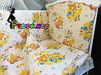 """Постельный набор в детскую кроватку (8 предметов) Premium """"Мишки пчелки"""" бежевый, фото 1"""