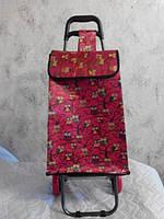 Сумка- тачка на колесах (большая)  совы красные 53х36х21
