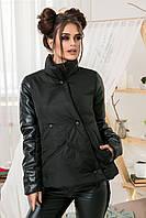 """Женская стильная свободная куртка на синтепоне 5-989 """"Звезда Рукава Кожа"""" в расцветках"""