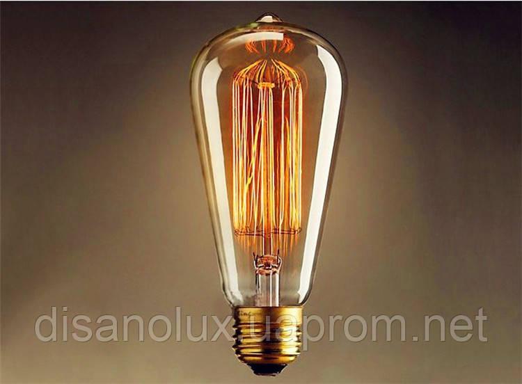 Лампа Эдисона E27 ST64 60W 2700K Amber 220V