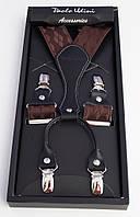 Подтяжки шелковые коричневые Paolo Udini , фото 1