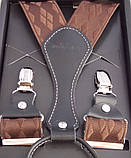 Подтяжки шелковые коричневые Paolo Udini , фото 4