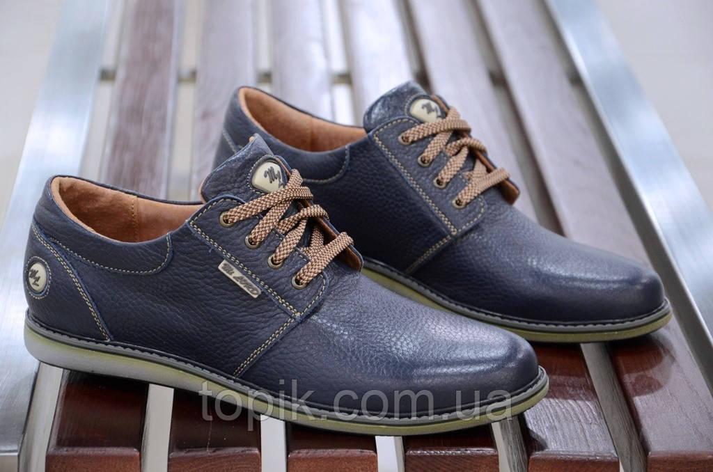 Туфли кожаные очень хорошее качество мужские темно синие молодежные Харьков (Код: 401)