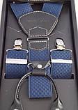 Подтяжки шелковые синие Paolo Udini на подарок, фото 4