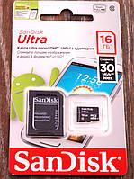 Карта памяти MicroSD 16Gb SanDisk СД Карта 10 Класс. SD карта на 16ГБ