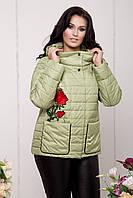 Стильная женская оливковая куртка большого размера  588-OLIV Caramella 54-64 размеры