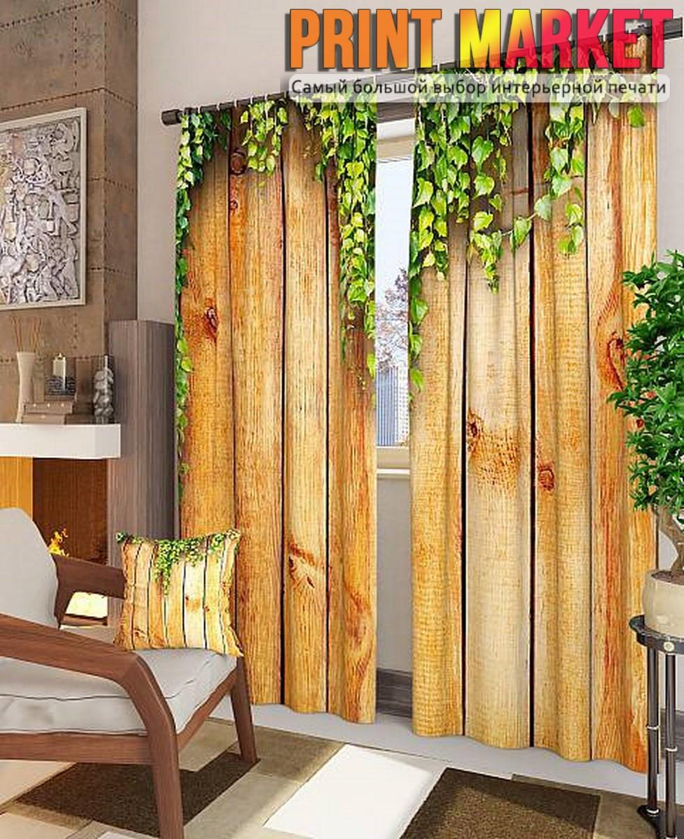 Фотошторы деревянная стена