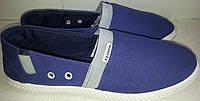 Кеды тапки слипоны FASHION синие с серой полосой