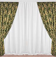 Зеленые шторы на окна ткань блэкаут 150 х 280 см 2 шт