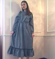 Женское платье свободного кроя с рюшами. Материал костюмный лен. Размер универсальный с,м,л.