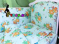 """Постельный набор в детскую кроватку (8 предметов) Premium """"Мишки пчелки"""" зеленый, фото 1"""