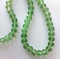 """Хрустальная бусина, """"рондель"""", светло зеленая, 4х6 мм"""