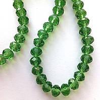 "Хрустальная бусина, ""рондель"", зеленая, 3х4 мм"