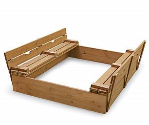 Деревянная песочница 150 х 150 см с крышкой и лавочками sb-3, фото 2