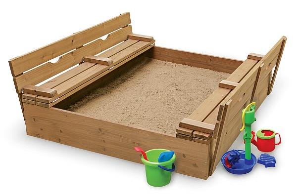 Деревянная песочница 150 х 150 см с крышкой и лавочками sb-3