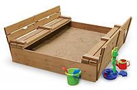 Деревянная песочница с крышкой и лавочками sb-3